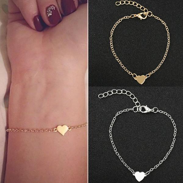 NS1 Sıcak Satış Kadınlar Kızlar Için Büyüleyici Kalp BraceletsBangles Altın Gümüş Renk Metal Bilezikler Bildirimi Takı Toptan