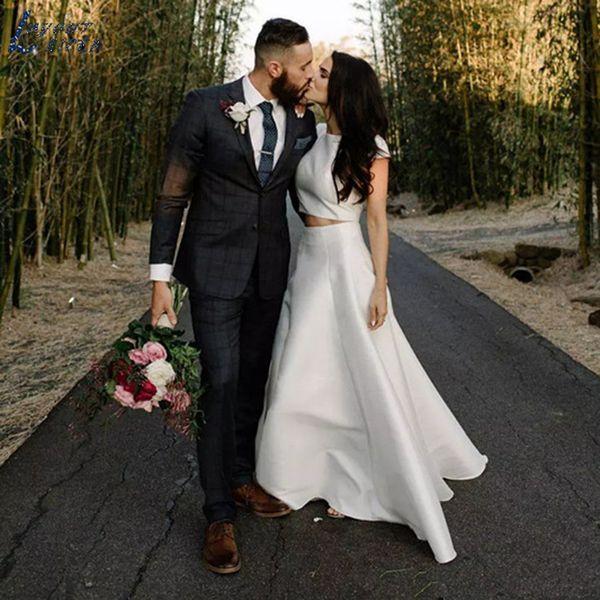 Simples Two Pieces Cap manga comprida de cetim Boho Wedding Dress colher mangas País nupcial vestidos de noiva Vestido de noiva