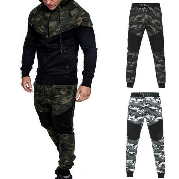 2020 Männer Art und Weise Tarnung Jackets + Pants Set Male Anzug Im Freien Anzug Casual Men Fitness-Studios Sportanzug Großhandel Set