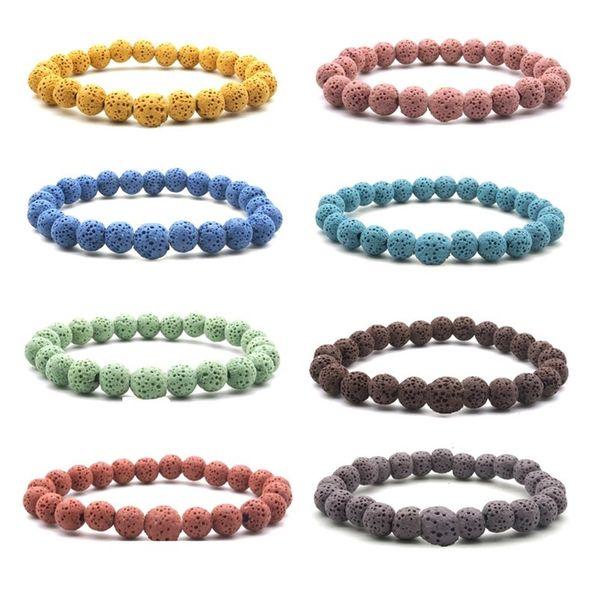 10 Colourful Natural Lava Stone Beads Elastic Bracelet Essential Oil Diffuser Bracelet Volcanic Rock Beaded Hand Strings