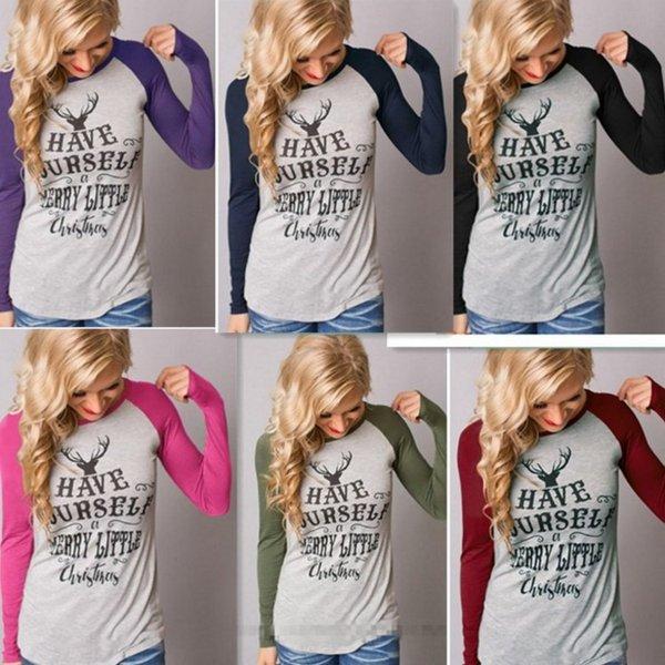 Рождество тенниска женщин с длинным рукавом Серая женская Топы осень Tee Shirt Женщины Мода Стиль T-Shirt Хлопок Новый Плюс Размер тенниску 2pcs / много