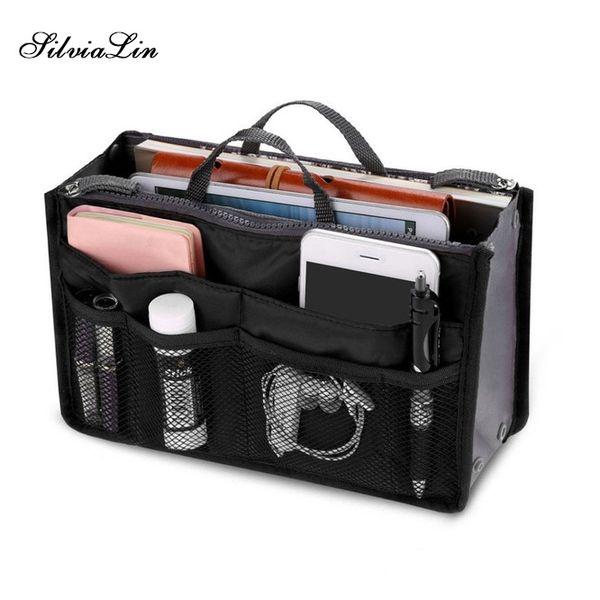 Organizer Insert Bag Women Nylon Travel Insert Organizer Handbag Purse Large Liner Lady Makeup Cosmetic Bag Cheap Female Tote #29875