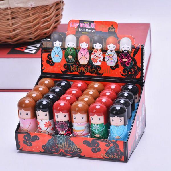 Kawaii mignon Baume à lèvres Kimono Doll Outils cosmétiques Maquillage Beauté Maquillage Lipgloss poupée japonaise style Baume à lèvres RRA2145
