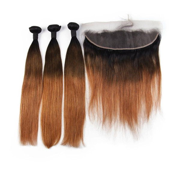 1b/4/30 Human Hair Bundles With Lace Frontal Closure Ombre Brazilian Hair Wefts Straight Human Remy Hair 3 Bundles With Frontal