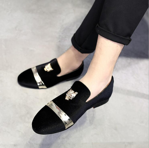 New Fashion Gold Top and Metal Toe Men Velvet Dress shoes italian mens dress shoes Handmade Loafers plus size 35-46