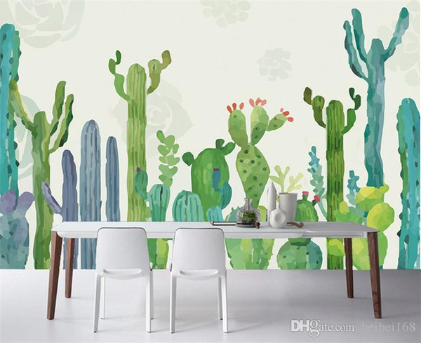 Grand 3D Cacti mur Papiers peints photos Papier peint Cactus Living Room Wall Paper 3 D Papel de Parede faire bureau Taille personnalisée