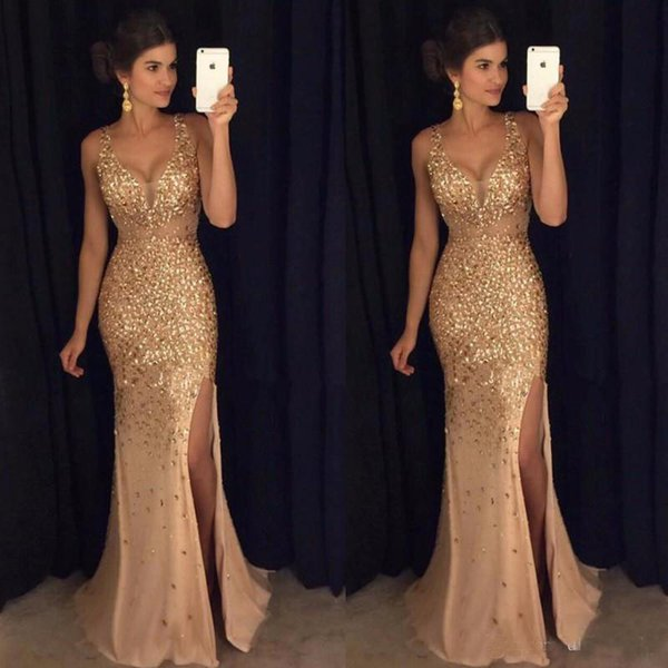 Gold Shinny Prom Dresses Mermaid Sexy V Neck Cap Sleeves Major Crystal Beaded Sequins Side Slit Formal Evening Party Dress
