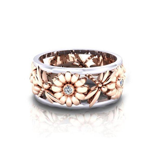 Rose Gold Flower Chrysanthemum Dragonfly Crytal Ring Band Rings Fashion Jewlery for Women Drop Ship 080304