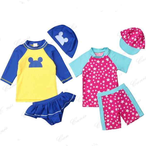 Лето 1-6T Kid Girl Boy шорты с коротким или длинным рукавом милые печатные 3шт наряды купальники солнцезащитный купальник