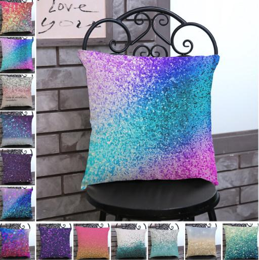 High Quality Dazzling colour printed cotton-linen pillowcase 45*45cm polyester-linen pillowcase household sofa office cushion cover