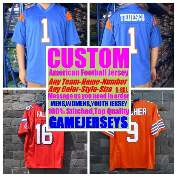 top popular Custom college american football jerseys mens womens youth kids soccer rugby cheap stitched authentic jersey 4xl 5xl 6xl 8xl athletic wear 2019