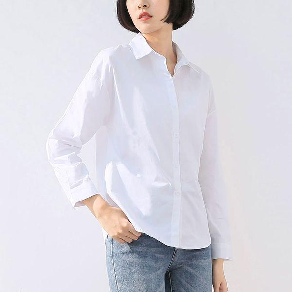 Women Shirts Female Turn Down Collar White Tops Formal Work Wear Ladies Brief Long Sleeve Loose Blouse Korean Fashion Clothing