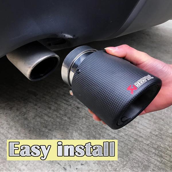 top popular 1PCS Akrapovic Curly Matte Car Universal Carbon Fiber Exhaust Tip Muffler Pipe For BMW BENZ AUDI VW 2021