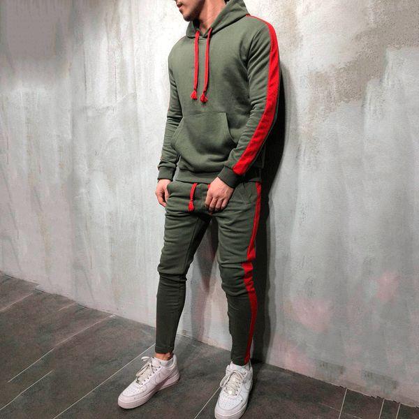Set da uomo 2 pezzi Tute da uomo Tuta sportiva Pullover Felpa con cappuccio e pantaloni Strisce Felpa con cappuccio Sportswear Mens Casual Sweater