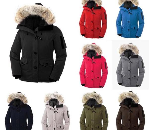 Зима новый стиль 2020 канада Top Copy Женские MONTEBELLO КУРТКА С WhiteBLACK LABEL гуся вниз Parka пальто с енота меховым Free Ship