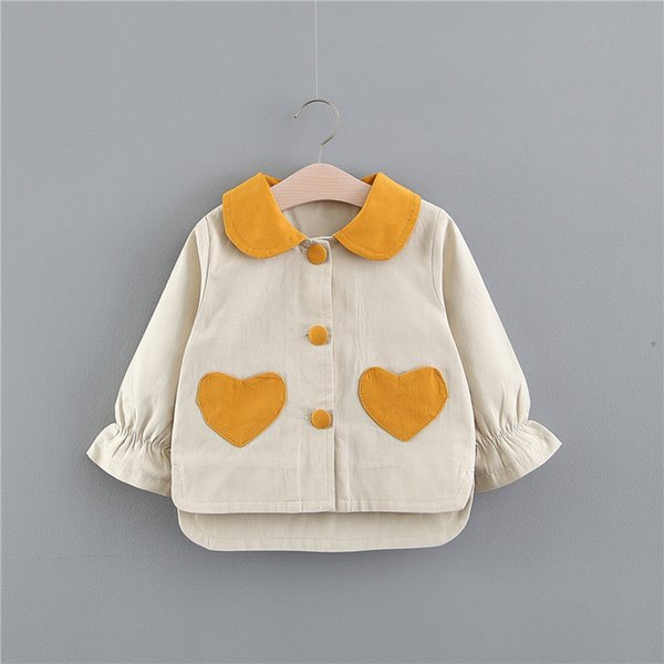 Girls Heart Pocket Cardigan Shirts Spring 2019 Kids Boutique Clothing Korean 1-4 Little Girls Solid Color Long Sleeves Thin Outerwear