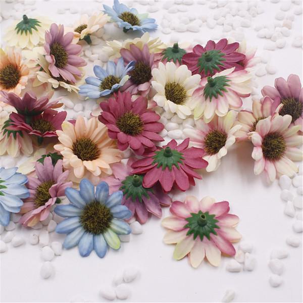 Chenap 10pcs Small Silk Sunflower Handmake Artificial Flower Head Wedding Decoration Diy Wreath Gift Box Craft Fake Flower