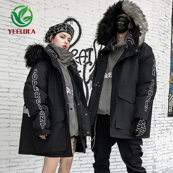 2019 Winter Hip-hop Two-color Fur Collar Jacket Parkas Thick Lady High Street Fashion Personality 3M Reflective Coat Windbreaker
