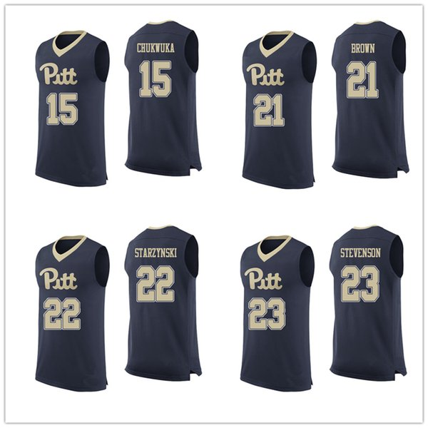 best authentic 86be4 c8d94 2019 Pittsburgh Panthers Pitt College #15 Kene Chukwuka #21 Terrell Brown  #22 Anthony Starzynski #23 Shamiel Stevenson Basketball Jerseys Mens From  ...