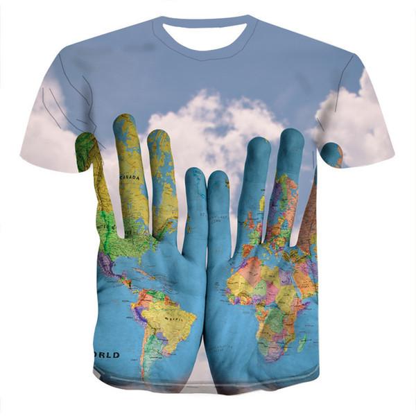 Univers Nuage 3D Digital Print Womens T-shirts à manches courtes en vrac Mode O Neck T-shirts cool Tops Femme