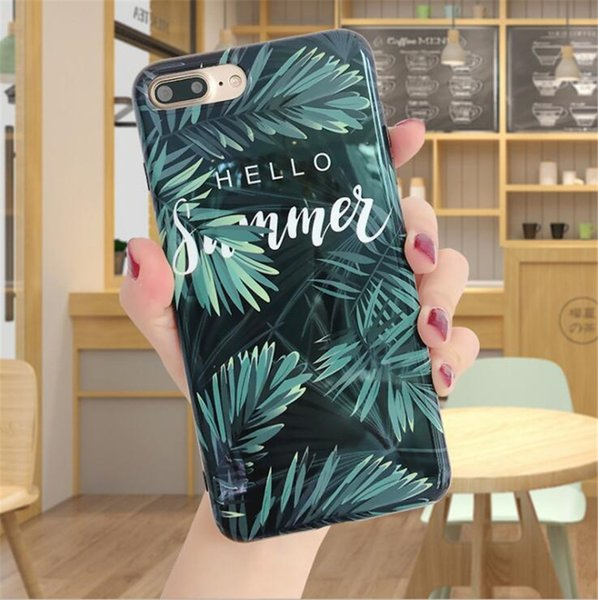 Free shipping New retro letter green leaf glossy mobile phone case FOR: iphone 6s 7 8 x xr xs max plus protective case