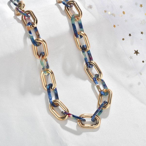 Cercle géométrique chaîne acrylique chaîne collier pour femmes alliage d'or acrylique Déclaration Choker Pull Fashion Chic Bijoux