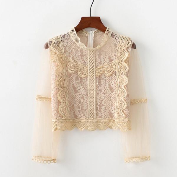 Dantel Hollow Uzun Kollu T-Shirt Kadın Katı Renk Yaka Kırpma Üst Tığ Çiçek Tişört Kadın 4 Renk