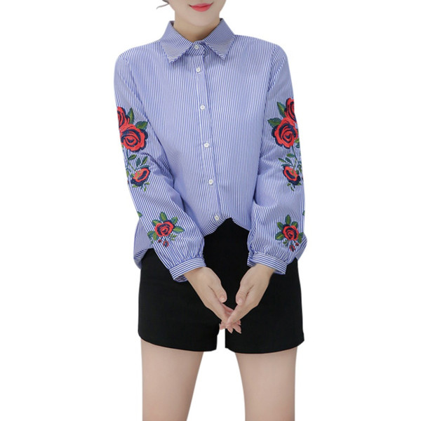 Women Long Sleeve Floral Embroidered Striped Blouse Casual Summer Elegant plus size Shirts Tops Blusas