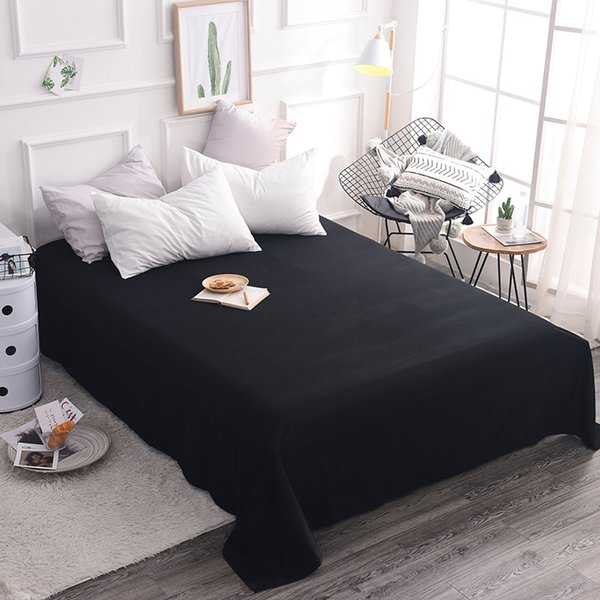 1 Piece Combed Cotton Solid Color Flat Sheet Bed Sheet Bed Cover Black White Grey 5 Size Double twin full Queen King 20 Color