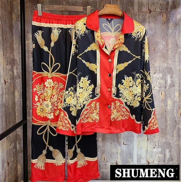 Новые Весенние и Осенние Женщины Красный Шелковый Пижамы Ретро Китайский Стиль Печати С Длинным Рукавом Атласная Пижамы Домашний Костюм Досуг Пижамы