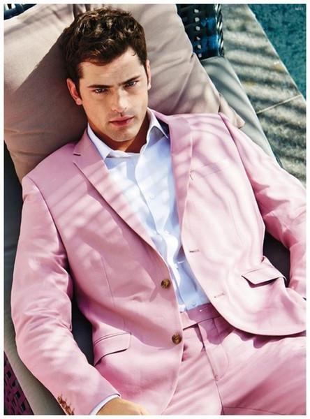 Últimos diseños de pantalón de abrigo Hot Pink Beach Men Suit Slim Fit 2 piezas Tuxedo Blazer personalizado trajes de novio Terno masculino Chaqueta + Pant