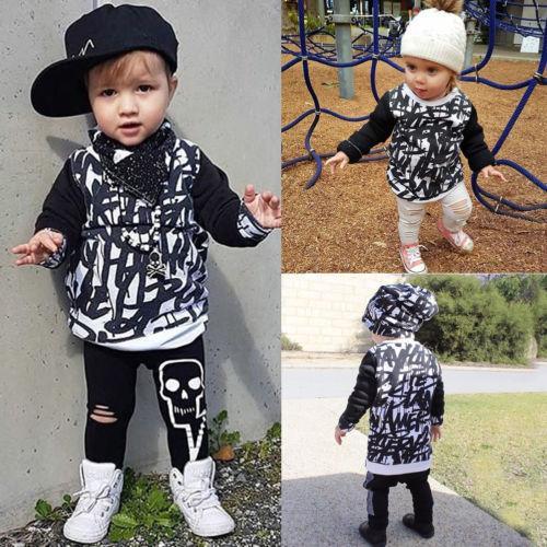 Nuevas sudaderas con capucha informales para niños pequeños BlackWhite Kid Baby Girl Boy Top Shirt Sudadera Primavera Otoño Ropa de abrigo infantil Ropa de algodón