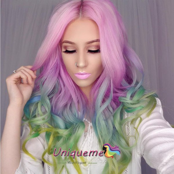 Mermaid Pastel Rainbow Hair Wigs Synthetic Hair Rainbow Color Pink purple/ Blue/ Fluorescent Green Ombre Hair Lace Front Wig Cosplay wigs