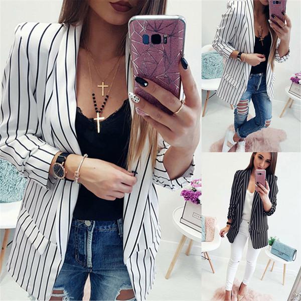 Mode Frauen Blazer und Jacken Sexy Damen-lange Hülsen-lose Blazer Büro-Dame Blazer Casual Women Striped V-Ausschnitt, Kleidung