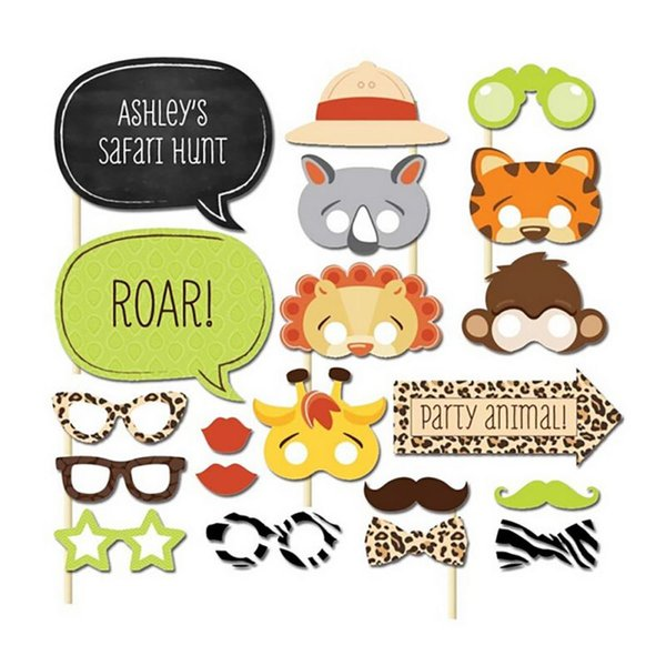 New Set of 20 Fun Safari Jungle Animal Baby Birthday Photo Booth Props on A Stick Baby Shower Kids Party Decoration Centerpieces