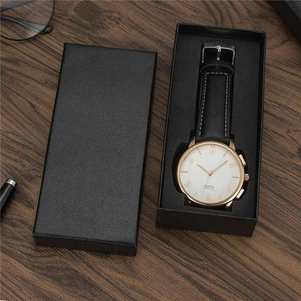Wholesale free shipping Top quality new brand big black jewelry brown classic elegant leather strap watch box matrix boxes packaging