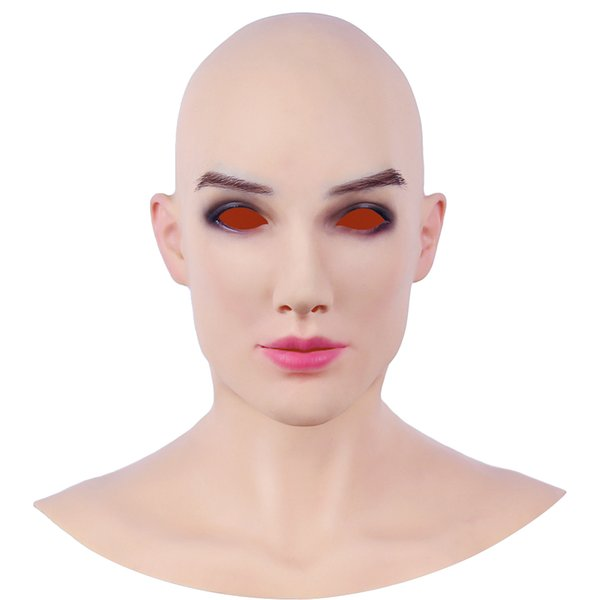 Super Soft Silicone Realistic Female Head Slim Handmade Makeup Transgender Mask Male to Female Crossdresser Masks Halloween Cosplay Mask 3G
