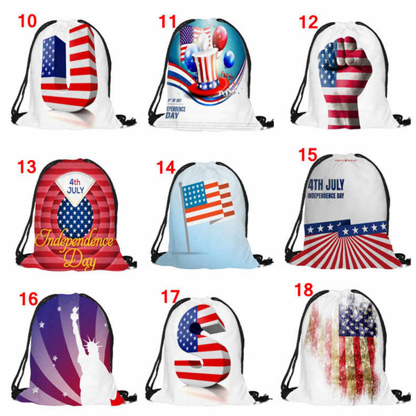 USA Flag Drawstring Bags 4 july independence day presidents flag day 3d printed Backpack Bag Unisex Outdoor Backpack Students School bags