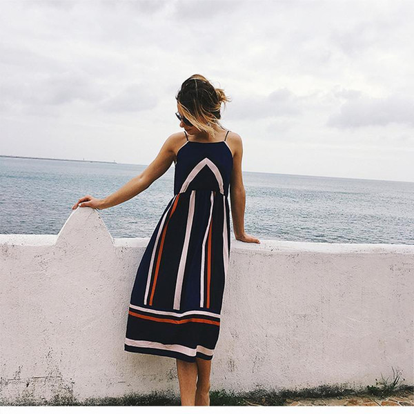 259675d1d8b006 good quality Women s Sling Striped Midi Dress Sleeveless Sexy Midi Dress  2019 Summer Fashion Casual Elegant