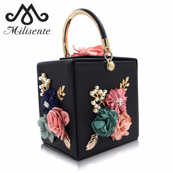 Milisente Femmes Sac De Soirée Pour 2018 Dames De Fleur De Mariage Embrayages Femme Rose Noir Embrayage Bourse