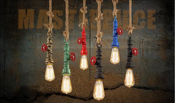 Lampada Vintage Industriale : Acquista americano vintage lampada a sospensione corda di canapa