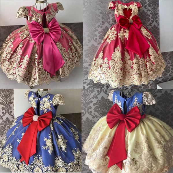 best selling Retail flower girl dresses Children Elegant Big bow Embroidered lace Princess dresses kids  clothes girls Wedding Gown party dress