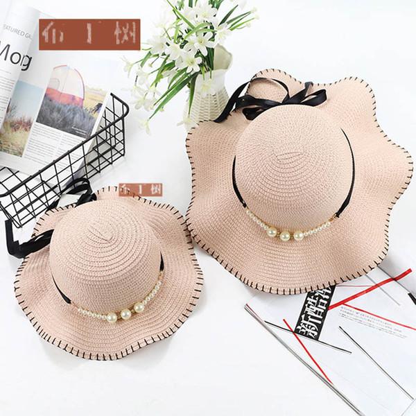 2019 newst Yaz Moda Anne ve Kızı şapka Tatlı Aile Hasır Şapka kız Kova Şapka Çocuklar plaj şapka Çocuk A2967 Caps