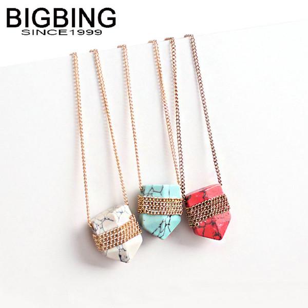BIGBING moda jóias corrente de ouro vermelho azul branco pedra pingente de Colar de moda mulheres colar de jóias de alta qualidade J241