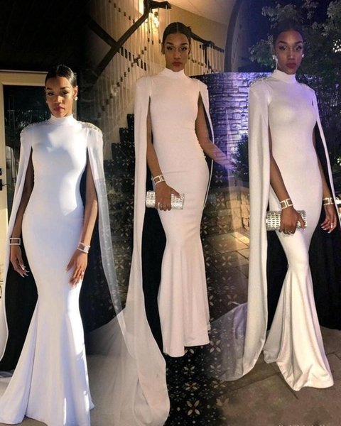 2019 Elegant High Neck Evening Dress Mermaid With Cape Long Sleeves Holiday Wear Pageant Prom Party Gown Custom Made Plus Size
