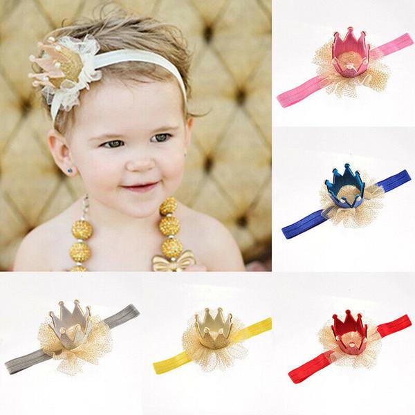 Fashion 1pcs Neeborn Baby Girl Crown Headwear Kids Elastic Chiffon Patchwork Soft Headbands Gifts Tiara Party Hair Accessories