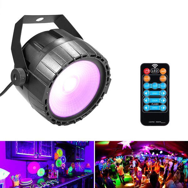 Disco 10W RGB UV COB LED Par Luce Wireless Remote Stage Stage Bright Smooth Lighting Lampada DJ DMX Luci per Party Bars Show