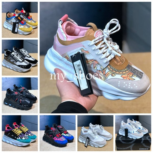 With Dust Bag 2019 New Chain Reaction Shoes Pink Gold Link-Embossed Sole  Luxury Brand Fashion Casual Designer Men Women Shoes Sport Sneakers 1e9300a2739da