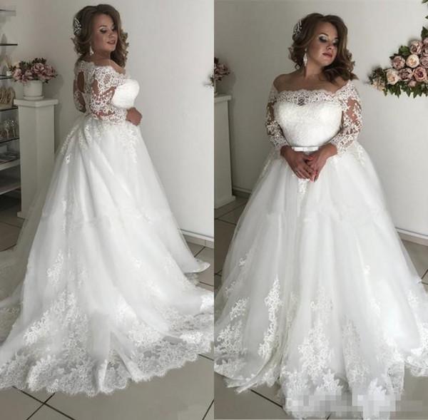 2019 Plus Size Country Lace Wedding Dresses 3/4 Sleeve Appliques Beads Sash Hollow Garden Bridal Gown vestido de noiva
