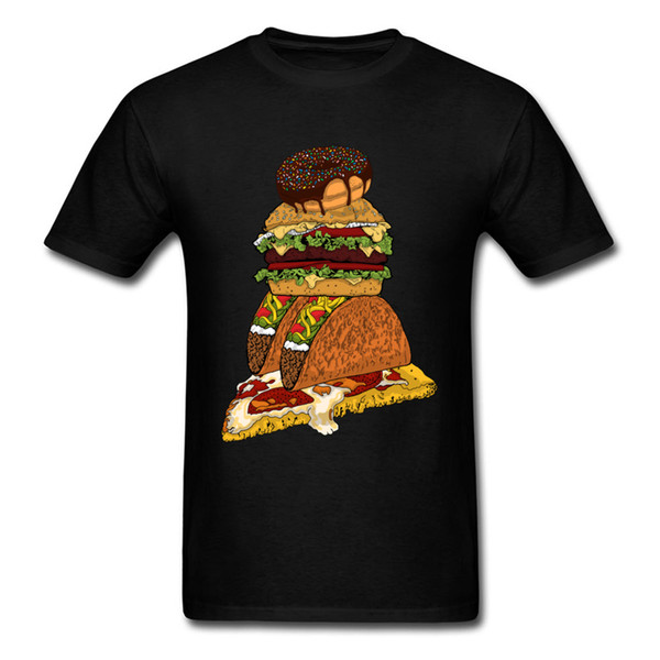 Men Foodie's Lover Black T-shirt 2019 Junk Food Funny Cartoon Design Student's Cotton T Shirt Doughnut Burger Taco & Pizza